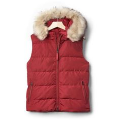 Gap Women Coldcontrol Max Hooded Puffer Vest ($90) ❤ liked on Polyvore featuring outerwear, vests, puff vest, red sleeveless vest, lightweight vest, red hooded vest and puffer vest