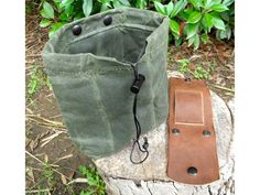 Waxed Canvas and Leather Forager's Pouch - SOLD