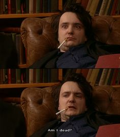 I pinned this because. Black Books (me every morning) English Comedy, British Comedy, Dylan Moran, Gentleman, The Mighty Boosh, Great Tv Shows, Black Books, Best Self, Movie Quotes