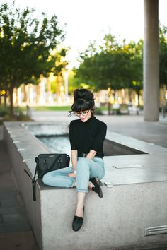 New Darlings: Day to Night Fall Style in partnership with @JCPenney #soworthit #fallfashion Black Turtleneck - Light Denim - Loafers