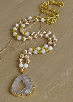 """""""Harmony"""" is a new addition to our 2016 Wanderlust collection. Tibetan agate, cracked agate and gold chain with gold trimmed druzy pendant. Necklace is approximately in length and perfect for laye Boho Jewelry, Beaded Jewelry, Vintage Jewelry, Fine Jewelry, Jewelry Necklaces, Bracelets, Fashion Jewelry, Jewelry Design, Jewelry Making"""
