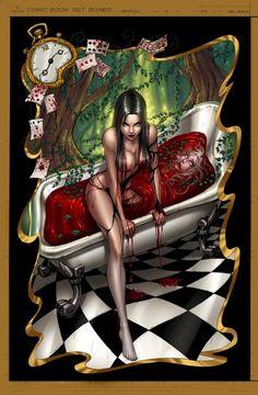 "Pinner said: Alice Bloodbath. My Opinion: Queen of Hearts Bloodbath ""Off with their HEADS! Cartoon Kunst, Comic Kunst, Cartoon Art, Fairytale Fantasies, Fairytale Art, Dark Fantasy, Fantasy Art, Grim Fairy Tales, Pinup"