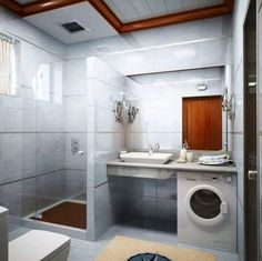 Machine à laver sous plan vasque dans une petite salle de bain http://www.homelisty.com/petite-salle-de-bain-lave-linge/