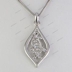 "Round Cut Diamond 14K Gold Plated Elegant Design Pendant 18"" Chain Free Pouch…"