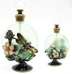 Well Jeweled Dragonfly & Flower Perfume Bottle
