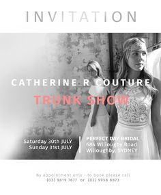 We are now in Sydney!  Come in and see us and meet the designer behind the gowns