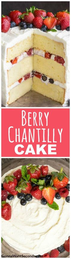 This Berry Chantilly Cake is made up of 3 layers of rich, tender cake covered in a luscious mascarpone frosting and sweet berries. It's Crazy Delish and tastes even better than it looks! #Best #Berry #Chantilly #Cake #Recipe #Easy #Desserts #Parties #Birthday #SweetTreats #Fruit #Holidays #RaspberryJam #HeavyCream #CreamCheese #Strawberry #Blueberry #Moist #Tender #Fruity