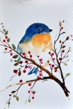 ORIGINAL Watercolor Painting Blue Bird with by ArtCornerShop
