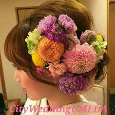 生花いっぱいの和装の前撮り at のの の結婚式 の画像|City Wedding 大阪 梅田、京都、神戸 ブライダルヘアメイク出張 ☆ヘアメイクアーティストモリの美女採集