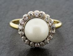 Antique Pearl Engagement Ring - Victorian Pearl & Diamond 18ct Gold Cluster Engagement Ring