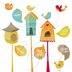 Bird House clip art clipart set by Creative Clip Art Collection. #clipart #birdhouse #cute #illustration #scrapbooking #art #craft