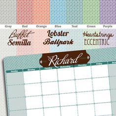 CUSTOM Magnetic Dry Erase Calendar by RichardCreative on Etsy, $25.95