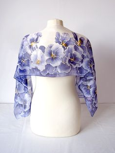 Silk scarf Pansy - hand painted scarf - violet scarf - purple scarf - pansy scarf - pansy silk scarves - spring scarf - flower scarf foulard by MinkuLUL on Etsy
