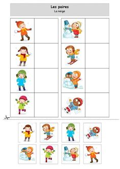 The snow pairs by Lolo - PDF file Preschool Math Games, Autism Activities, Montessori Activities, Winter Activities, Toddler Preschool, Preschool Activities, File Folder Activities, Tot School, Educational Games