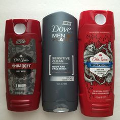 Lot (3) Mens #Old Spice Wolfthorn Swagger Dove Sensitive Clean Body Wash SOLD