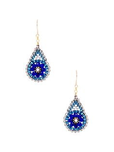 Swarovski, Blue Quartz, & Miyuki Drop Earrings