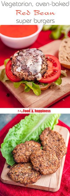 Super simple and delicious Red bean vegetarian burgers that require only a few main ingredients! Bake in the oven for a healthy meat-free meal tonight! Could be easily made vegan as well, if an egg-substitute is used!