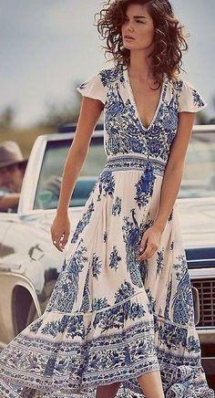 "Boho Maxi Dress Bluebird Print ""Hotel Paradiso"" Flutter Sleeves Crochet Birds Of Paradise Bohemian Border Sizes Small Medium Or Large"