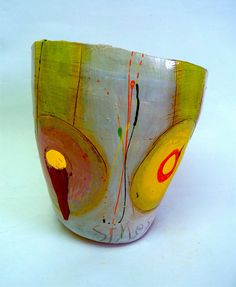"""'Red beyond border' multi-surfaced and fired terracotta 13""""h x 12""""w x 9.5""""d for Richard Hagen Autumn show (Worcestershire)."""