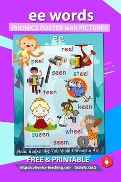 ee words - This phonics lesson for kids is the perfect addition to your phonics instruction. The cute graphics & playful colors ensure your students will love them. Phonics Lessons, Jolly Phonics, Phonics Activities, Learning Activities, Teaching Ideas, English Lessons For Kids, Learn English Words, Kindergarten Math Worksheets, Phonics Worksheets