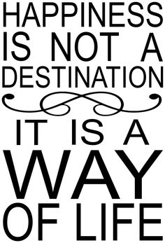 Home Decor vinyl wall decal: Happiness is not a destination, it is a way of life.
