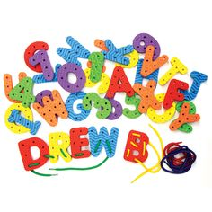 This fun alphabet toy will help children develop fine motor skills. The thick durable pieces have unique textures and shapes so little hands can grasp them. Use for lacing, sequencing and shape recogn