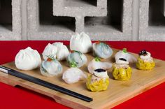 ASSORTED DIM SUM: CHAR SIU BAO, SCALLOP PEASHOOT & KING MUSHROOM DUMPLING, HAR GOW, SUI MAI.