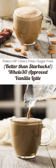 Vanilla Latte Coffee - a dairy free refined sugar free approved and paleo vanilla latte that is better than Starbucks! Vanilla Latte Coffee - a dairy free refined sugar free approved and paleo vanilla latte that is better than Starbucks! Whole 30 Diet, Paleo Whole 30, Whole 30 Recipes, Whole Food Recipes, Dishes Recipes, Drink Recipes, Cooking Recipes, Healthy Shakes, Healthy Drinks