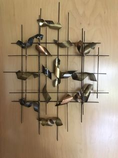 Vintage Mid Century Brutalist Metal Wall Sculpture Wall Hanging Jere Style | eBay