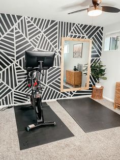 Home gym and peloton room Home Gym Garage, Diy Home Gym, Gym Room At Home, Home Gym Decor, Basement Gym, Basement Makeover, Dream Home Gym, Best Home Gym Setup, Workout Room Home