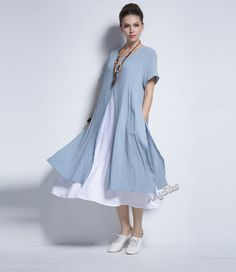 Any Size fake two piece slit design linen & cotton dress plus size dress plus size tops plus size clothing spring summer dress