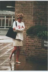 Princess Diana, casual in neutral flats, skirt & loose casual top