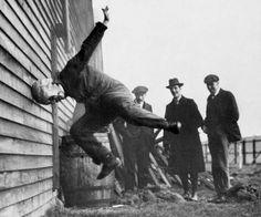Testing a football helmet. 1912. Photographer unknown.