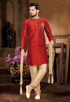 Buy Maroon Art Silk Jacquard Readymade Sherwani online, work: Embroidered, color: Maroon, usage: Wedding, category: Mens Wear, fabric: Art Silk, price: $124.85, item code: MSE463, gender: women, brand: Utsav