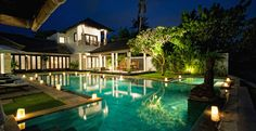my villa holiday villa rentals bali nusa dua Puri Tirta Villas Selamanya pool at night
