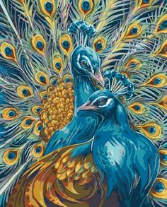 Plaid Majestic Peacocks Paint By Number Kit | MonsterMarketplace.com