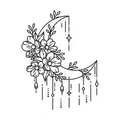 Cool Art Drawings, Doodle Drawings, Easy Drawings, Small Flower Drawings, Flower Sketches, Drawing Ideas, Stencils Tatuagem, Tattoo Stencils, Geometric Tattoo Vector