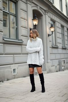 Oversize jumper skirt and knee length boots
