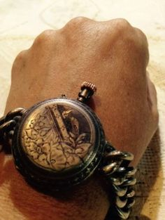 Nemesis Antique Gothic Pocket Watch 92.5% Sterling Silver Bracelet