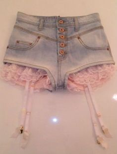 Pastel grunge blue jean daisy dukes, with ruffle pink garter belt built in to it. Pastel Goth Fashion, Kawaii Fashion, Lolita Fashion, Cute Fashion, Look Fashion, Diy Fashion, Fashion Outfits, Womens Fashion, Pastel Goth Clothes