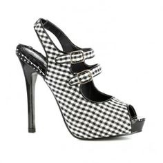 BP517-PINKY Women Stiletto Heel Gingham Peep Toe Slingback Platform Pump - Black