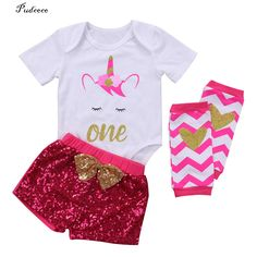 Infant Baby Girls Unicorn Romper Tops Sequins Pants Outfits Set Party Clothes #Affiliate