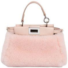 FENDI Micro Peekaboo Shearling Shoulder Bag ($1,950) ❤ liked on Polyvore featuring bags, handbags, shoulder bags, fendi, pink bags, shoulder handbags, shoulder bag purse, pink purse, pink handbags and pink shoulder bag