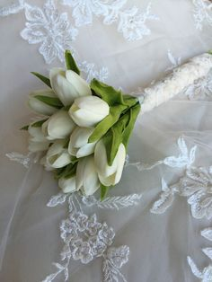 White Tulip Bouquet Real Touch Bouquet Tulip by MerryMeBouquets #tulips #flowers #bouquet