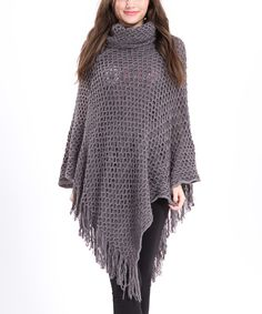 Look at this Ace Fashions Gray Open-Knit Cowl Neck Poncho on #zulily today!