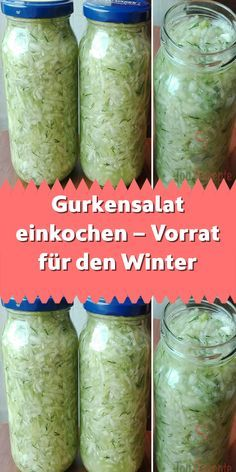 Gurkensalat einkochen – Vorrat für den Winter If you like cucumber salad (made from fresh cucumbers yourself) and want to enjoy it in winter as well, we recommend that you make provisions for w Corn Salads, Easy Salads, Chopped Salads, Salad Recipes No Meat, Avocado Recipes, Cucumber Salad Vinegar, Salads For A Crowd, Mediterranean Quinoa Salad, Bean Salad