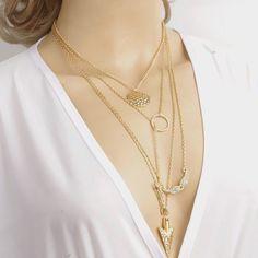 4 Layer Arrow Design Necklace Pendant Charm Gold Chain Choker Necklace
