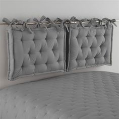 DIY headboard with chair cushions with ties and curtain rod # headboard . : DIY headboard with chair cushions with ties and curtain rod rail – Curtain Rod Headboard, Pillow Headboard, Futon Sofa, Pillows, Sleeper Sofas, Home Bedroom, Bedroom Decor, Home Furniture, Child Room