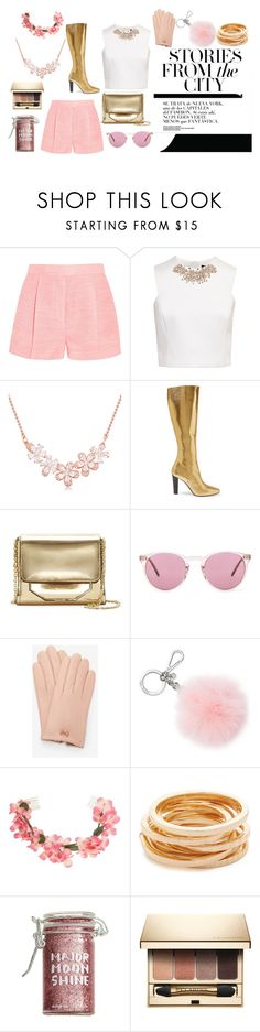"""""""PinkChic"""" by nikkicouture ❤ liked on Polyvore featuring STELLA McCARTNEY, Ted Baker, Yves Saint Laurent, Louise et Cie, Oliver Peoples, Michael Kors, Miss Selfridge, Kenneth Jay Lane, Major Moonshine and Clarins"""