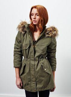 Khaki Faux Fur Parka Faux Fur Parka, Parka Coat, Khaki Parka, Miss Selfridge, Military Jacket, Raincoat, Asos, Jackets, Shopping